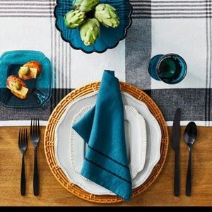 4 Hearth Hand Farmhouse Napkins Teal Linen Cotton